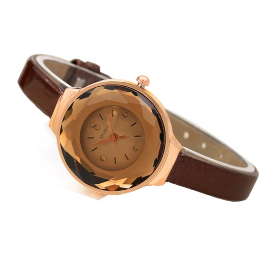 Crystal Glass Dial Fine European Fashion Brown Color Ladies Leather Watch W-06 image