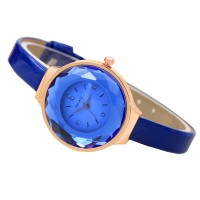 Crystal Glass Dial Fine European Fashion Blue Color Ladies Leather Watch W-06