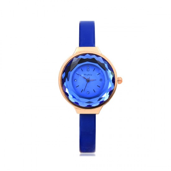Crystal Glass Dial Fine European Fashion Blue Color Ladies Leather Watch W-06 image
