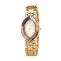 Gold Color Oval  Eye Shape Personality Women Quartz Watch W-10