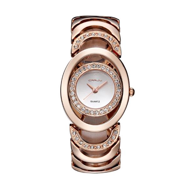 Rose Gold Color Elegant Steel Belt Diamond Ladies Bracelet Watch W-11  image