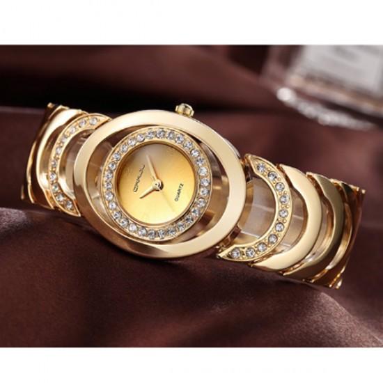 Gold Color Elegant Steel Belt Diamond Ladies Bracelet Watch W-11 image