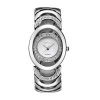 Silver Color Elegant Steel Belt Diamond Ladies Bracelet Watch W-11