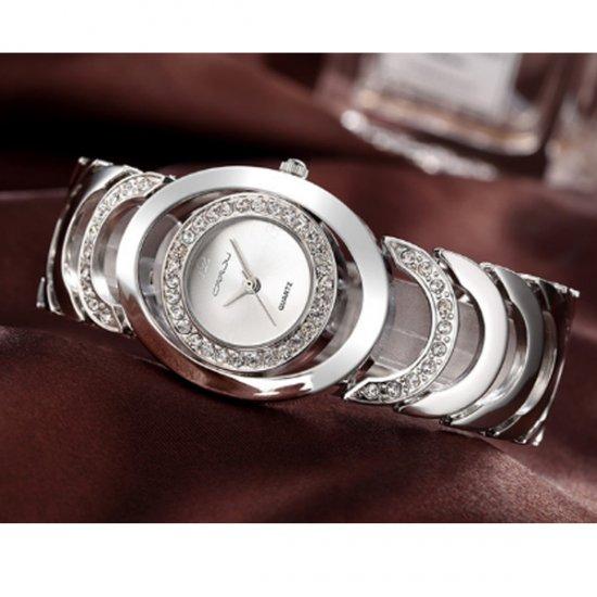 Silver Color Elegant Steel Belt Diamond Ladies Bracelet Watch W-11 image