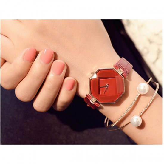 Korean Fashion Red Color Temperament Diamond Ladies Watch W-16 image