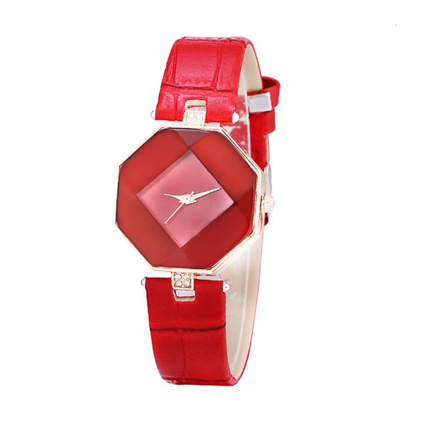 Korean Fashion Red Color Temperament Diamond Ladies Watch W-16 image
