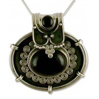 Traditional Chic Onyx Pendant Necklace in Oxidized Sterling Silver from India ANDN-09