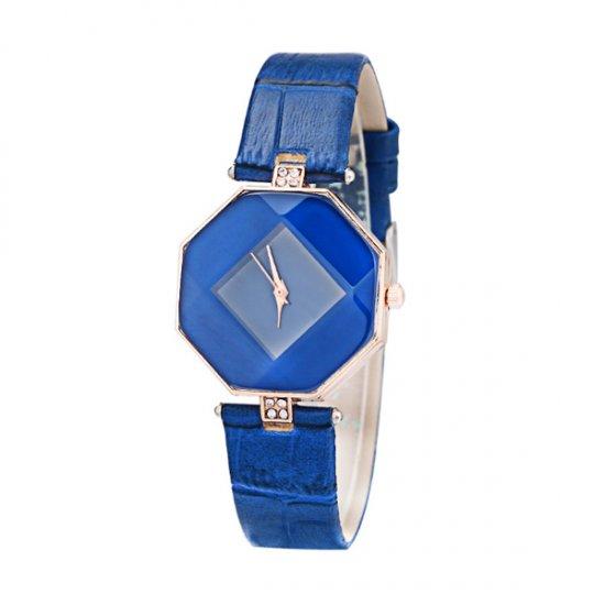 Korean Fashion Blue Color Temperament Diamond Ladies Watch W-16 image