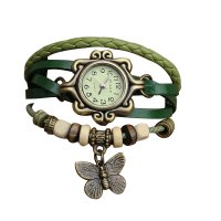 Green Color Retro Butterfly Bracelet Hand Skin Fashion Ladies Watch W-17
