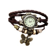 Brown Color Retro Butterfly Bracelet Hand Skin Fashion Ladies Watch W-17