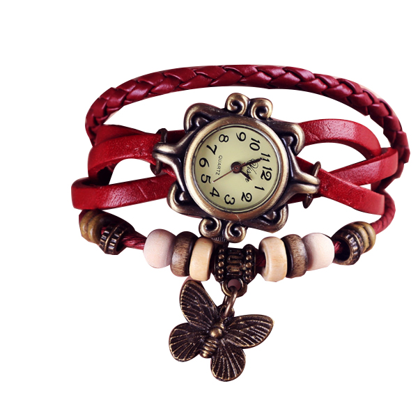 Red Color Retro Butterfly Bracelet Hand Skin Fashion Ladies Watch W-17 image