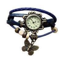 Blue Color Retro Butterfly Bracelet Hand Skin Fashion Ladies Watch W-17