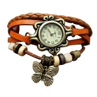 Orange Color Retro Butterfly Bracelet Hand Skin Fashion Ladies Watch W-17