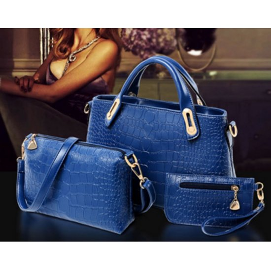 Women's Blue Crocodile Pattern 3 Piece Hand & Shoulder Bags Set  CLB-01