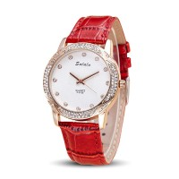Women Leather Red Belt Quartz Waterproof Ladies Watch W-18RD