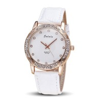 White Color Korean Fashion Diamond Belt Quartz Waterproof Ladies Watch W-18