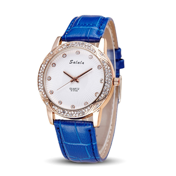 Women Leather Blue Belt Quartz Waterproof Ladies Watch W-18BL |image