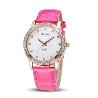 Pink Color Korean Fashion Diamond Belt Quartz Waterproof Ladies Watch W-18