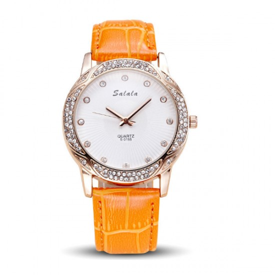 Women Leather Orange Belt Quartz Waterproof Ladies Watch W-18OR image