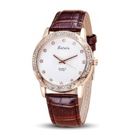 Brown Color Korean Fashion Diamond Belt Quartz Waterproof Ladies Watch W-18