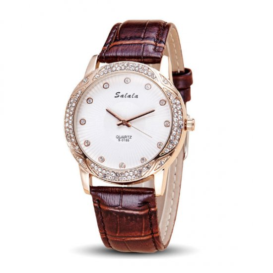 Women Leather Brown Belt Quartz Waterproof Ladies Watch W-18BR image