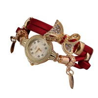Red Color Micro Supply Bowknot Pendant Ladies Watch W-19