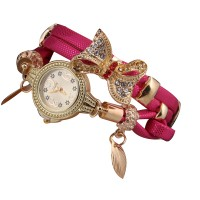 Pink Color Micro Supply Bowknot Pendant Ladies Watch W-19