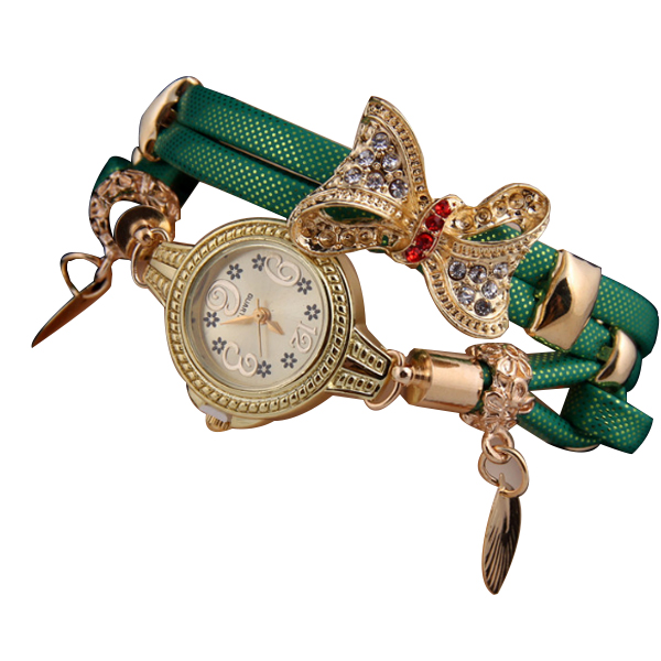 Green Color Micro Supply Bowknot Pendant Ladies Watch W-19 image