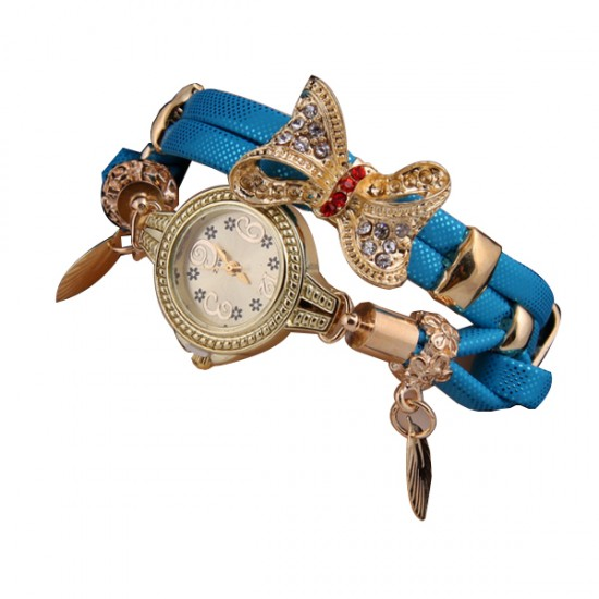 Blue Color Micro Supply Bowknot Pendant Ladies Watch W-19 image