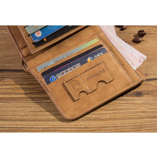 Matte Leather Brown Color Retro Three Fold Vertical Wallet MW-06
