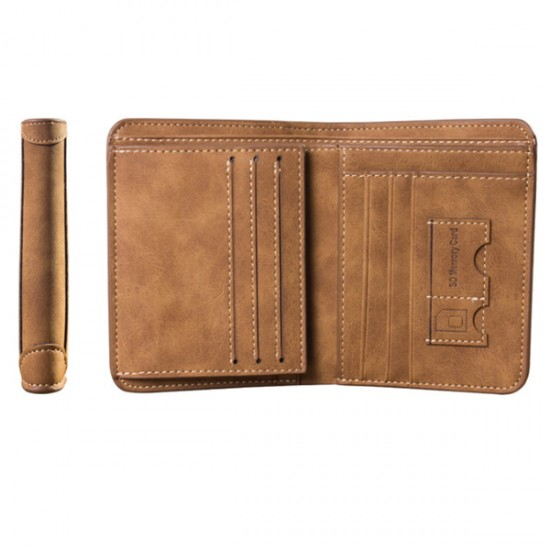 Matte Leather Brown Color Retro Three Fold Vertical Wallet MW-06 image