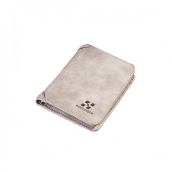 Matte Leather Light Grey Color Retro Three Fold Vertical Wallet MW-06