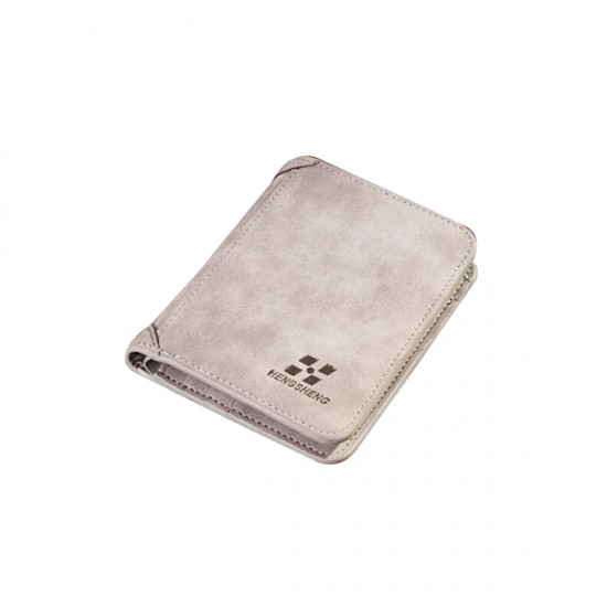 Matte Leather Light Grey Color Retro Three Fold Vertical Wallet MW-06 image