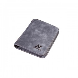 Matte Leather Grey Color Retro Three Fold Vertical Wallet MW-06
