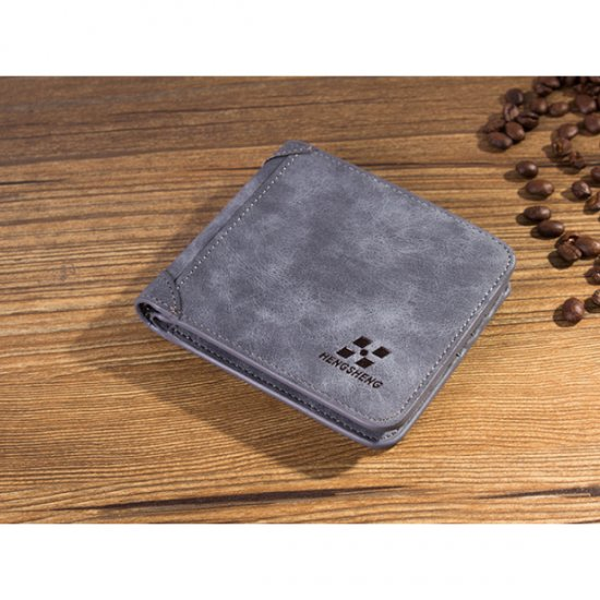 Matte Leather Grey Color Retro Three Fold Vertical Wallet MW-06 image
