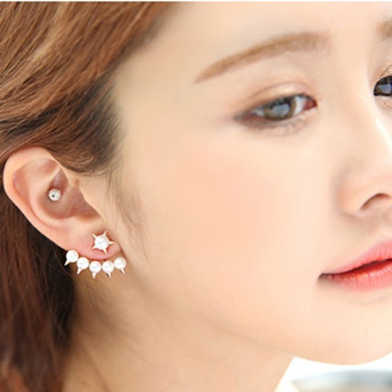 Woman Fashion Gold Color Five Pointed Star Hanging Pearl Earrings E-01