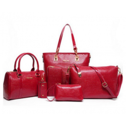 Worsely Red 6 Piece Crocodile Pattern Ladies Hand bags Set CLB-150RD