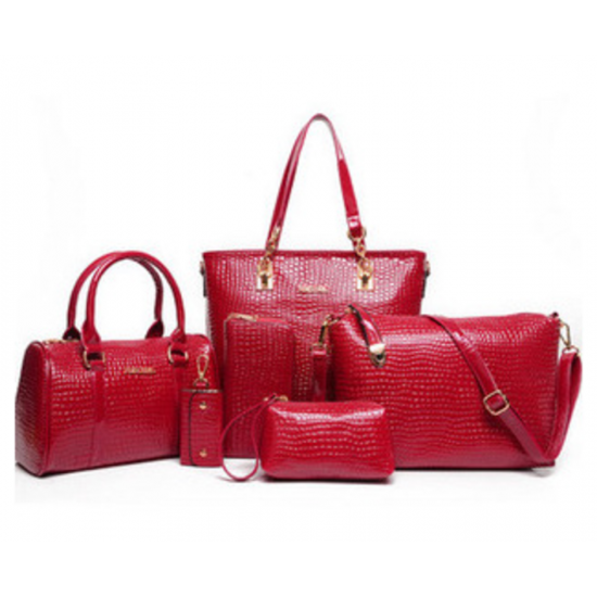 Worsely Red 6 Piece Crocodile Pattern Ladies Hand bags Set CLB-150RD image