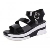 Women Black Color Shiny Thick Bottom Women Sandals S-59