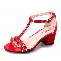 Red Color Shallow Mouth Rough Toe Rivet Womens Sandals S-63