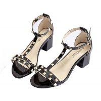 Black Color Shallow Mouth Rough Toe Rivet Womens Sandals S-63