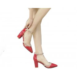 Red Rough Leather Buckle Hollow Pointed Rivets Women Shoes S-67