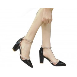 Black Rough Leather Buckle Hollow Pointed Rivets Women Shoes S-67