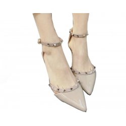 Gold Rough Leather Buckle Hollow Pointed Rivets Women Shoes S-67