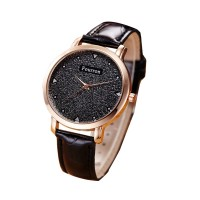 Korean Fashion Black Color Ultra Thin Leather Ladies Watch W-02