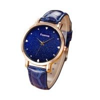 Korean Fashion Blue Color Ultra Thin Leather Ladies Watch W-02