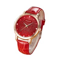 Korean Fashion Red Color Ultra Thin Leather Ladies Watch W-02