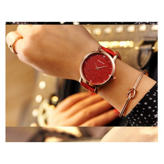 Korean Fashion Red Color Ultra Thin Leather Ladies Watch W-02 image