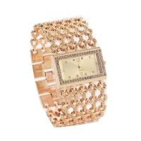 Gold Hollow Diamond Slim Square Mesh Bracelet Ladies Watch W-05