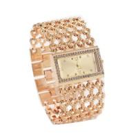 Gold Hollow Diamond Slim Square Mesh Bracelet Ladies Watch W-05